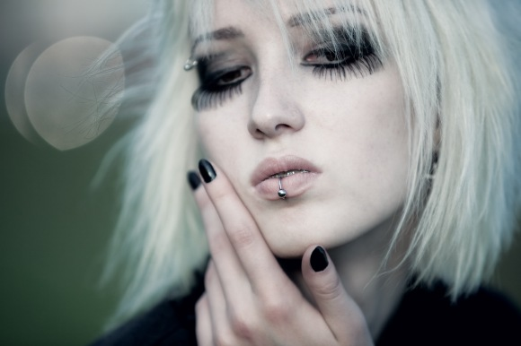 Goth woman outdoors portrait